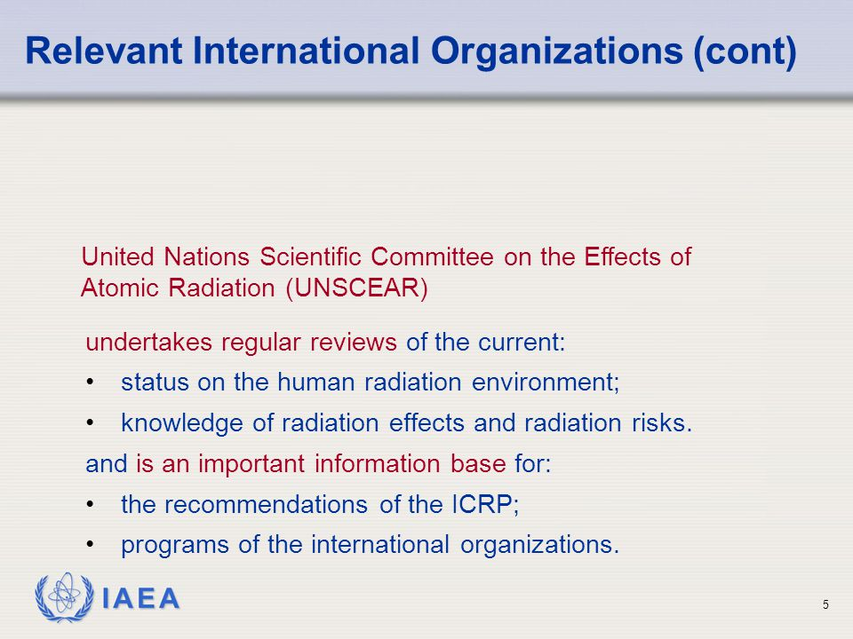 Relevant International Organizations (cont)
