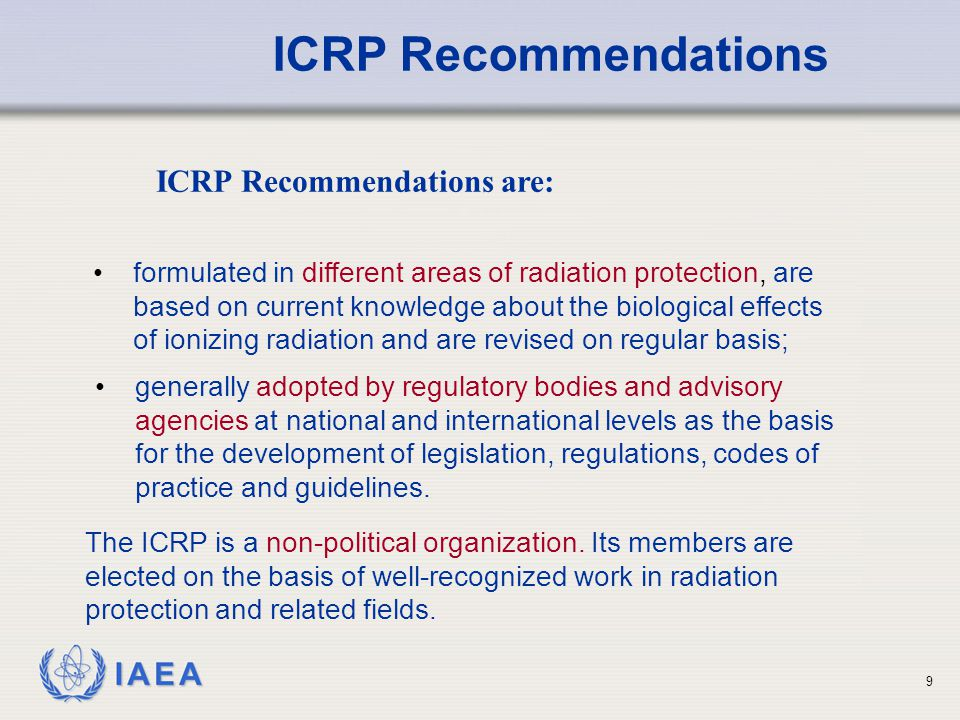 ICRP Recommendations are: