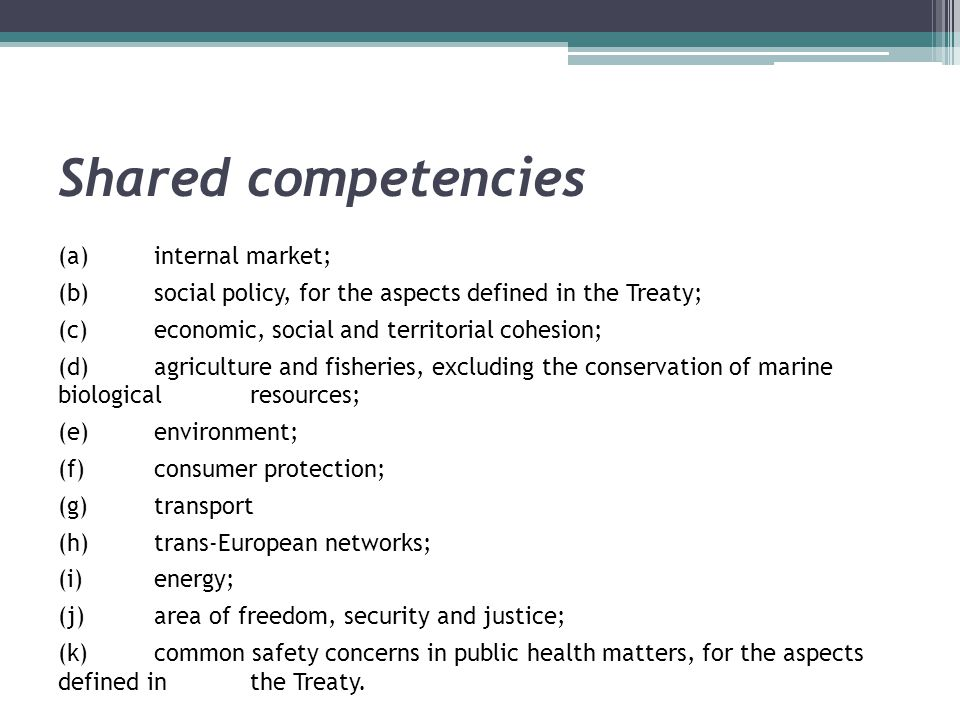 Shared competencies