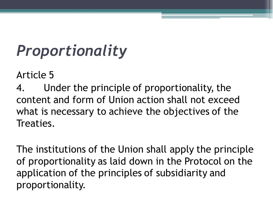 Proportionality Article 5