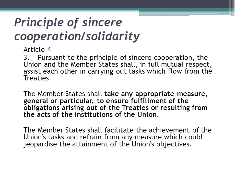 Principle of sincere cooperation/solidarity