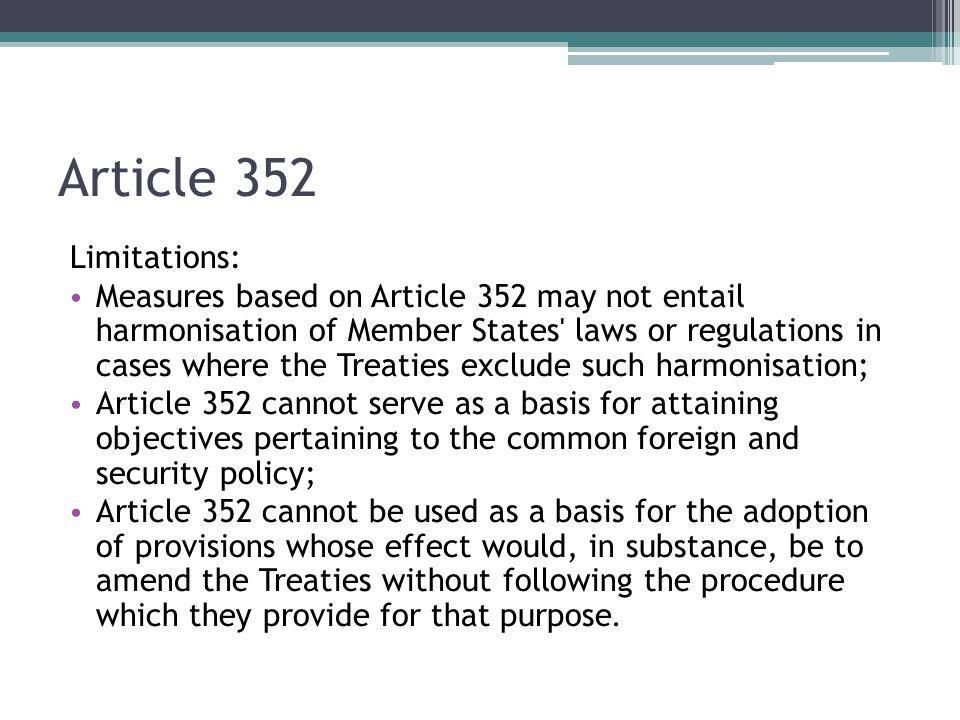 Article 352 Limitations: