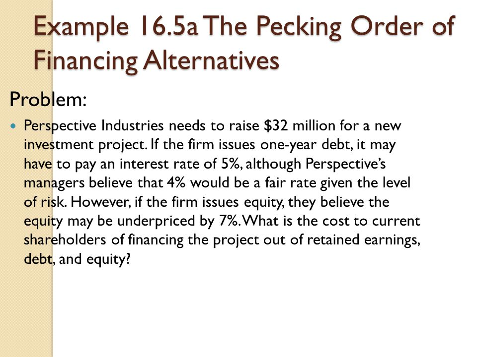 Example 16.5a The Pecking Order of Financing Alternatives