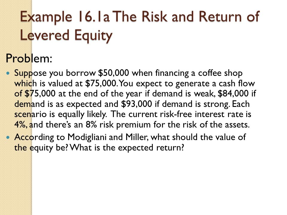 Example 16.1a The Risk and Return of Levered Equity