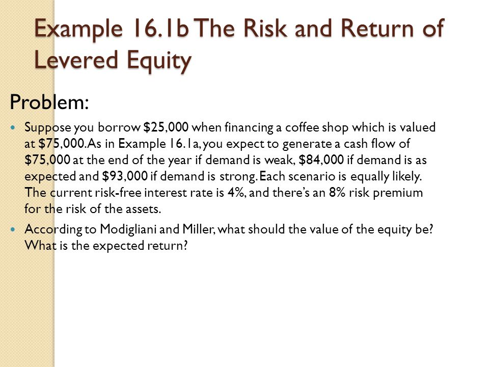 Example 16.1b The Risk and Return of Levered Equity