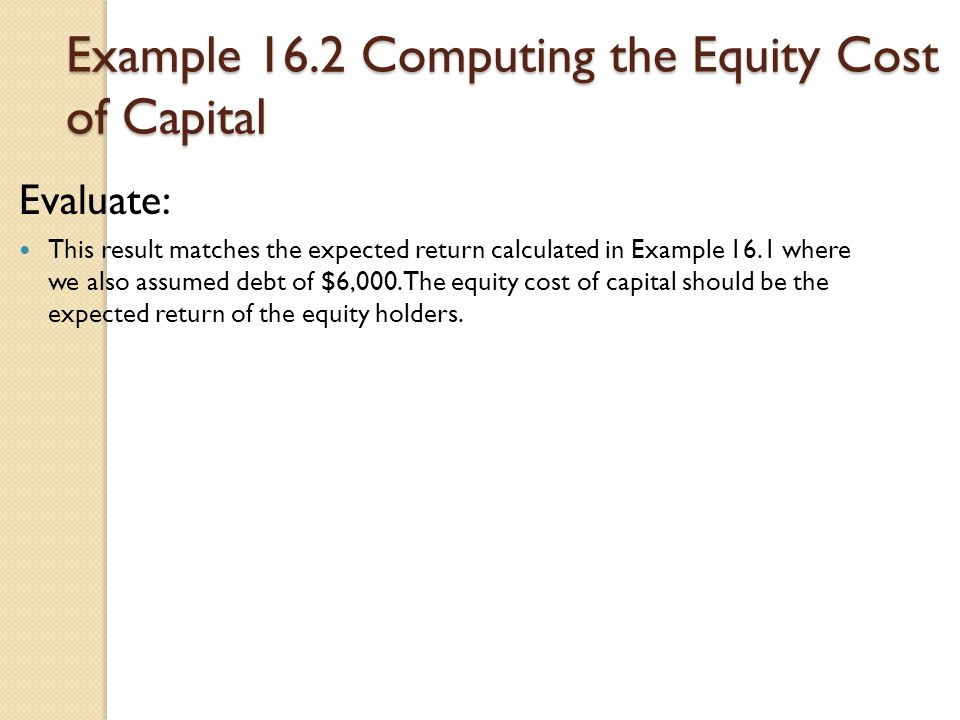 Example 16.2 Computing the Equity Cost of Capital