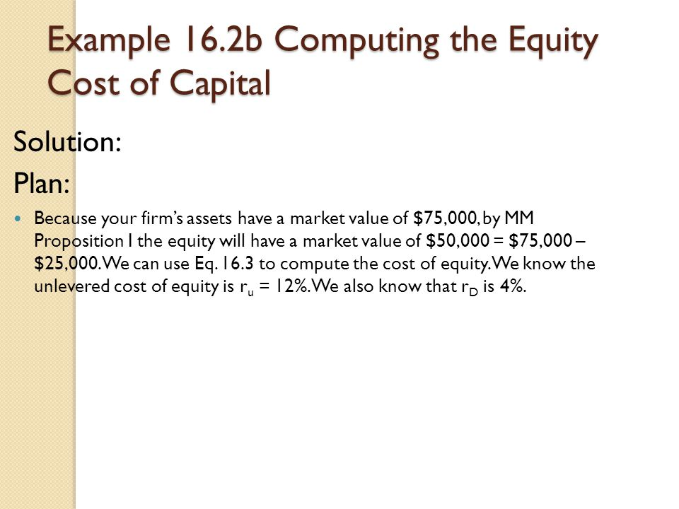 Example 16.2b Computing the Equity Cost of Capital
