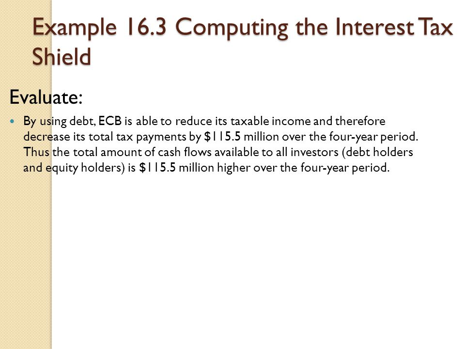 Example 16.3 Computing the Interest Tax Shield