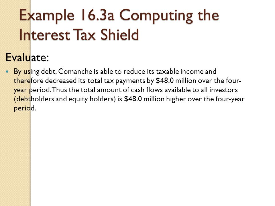 Example 16.3a Computing the Interest Tax Shield