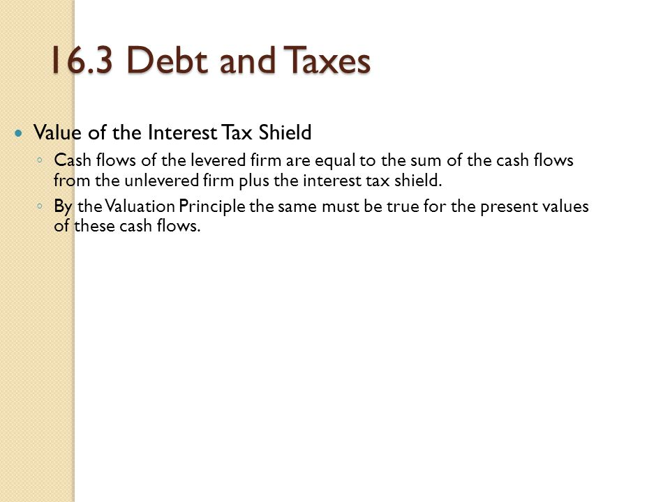 16.3 Debt and Taxes Value of the Interest Tax Shield