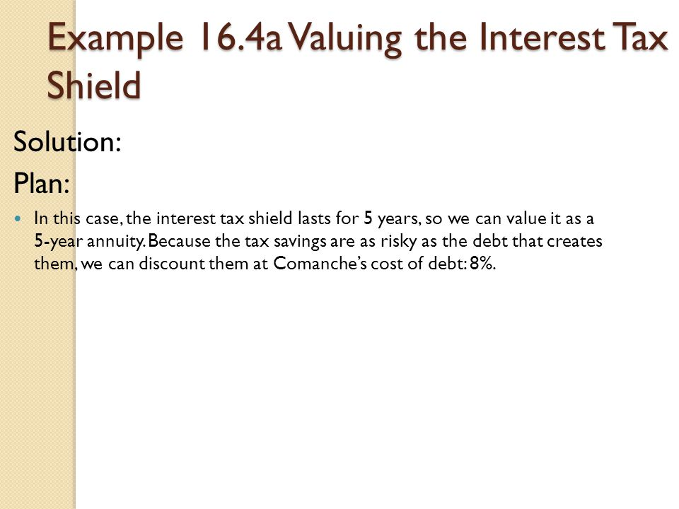 Example 16.4a Valuing the Interest Tax Shield