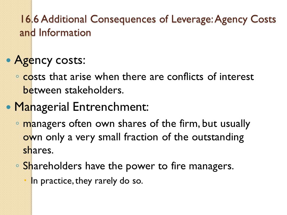 16.6 Additional Consequences of Leverage: Agency Costs and Information