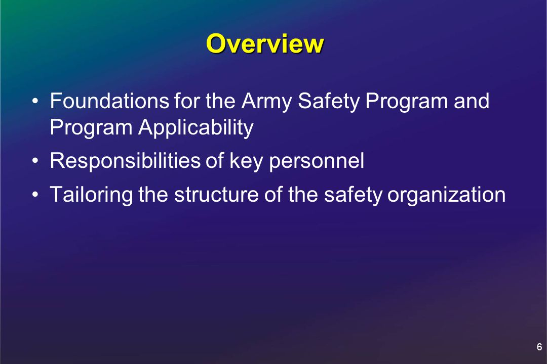 The Army Safety Program