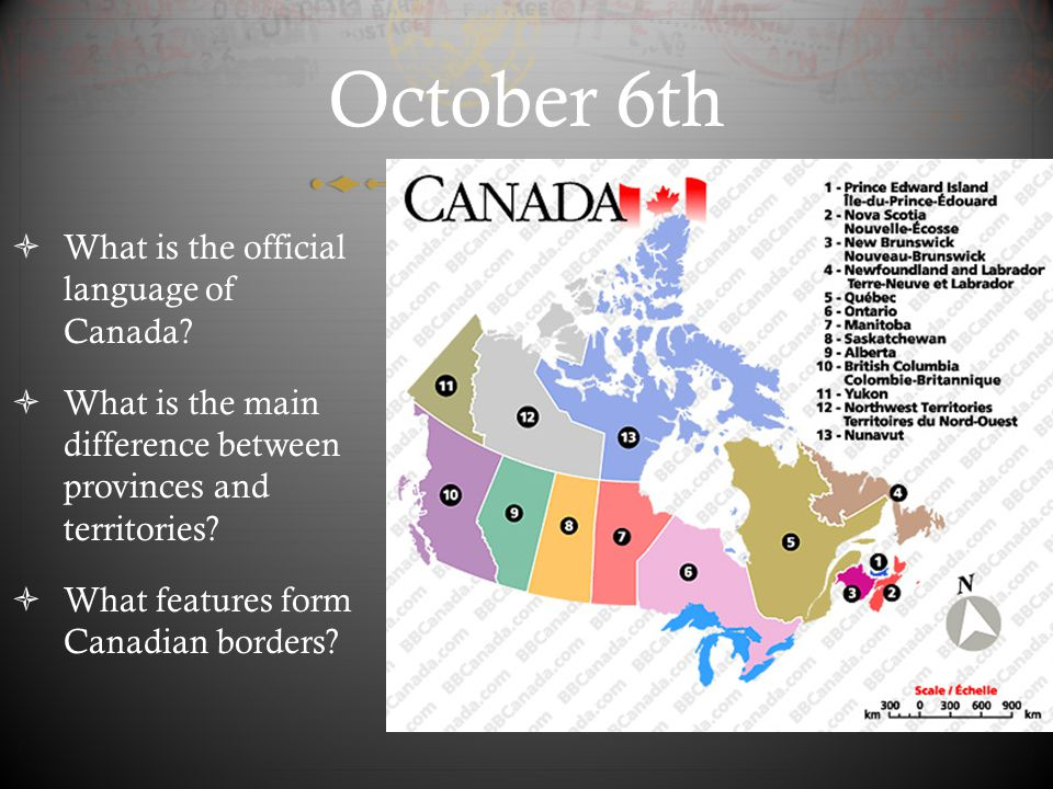 October 6th What is the official language of Canada