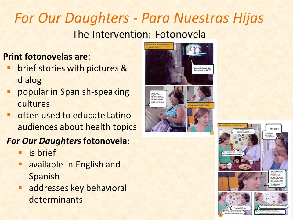 For Our Daughters - Para Nuestras Hijas The Intervention: Fotonovela