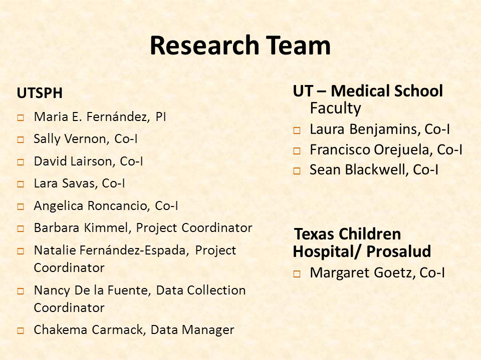 Research Team UT – Medical School Faculty