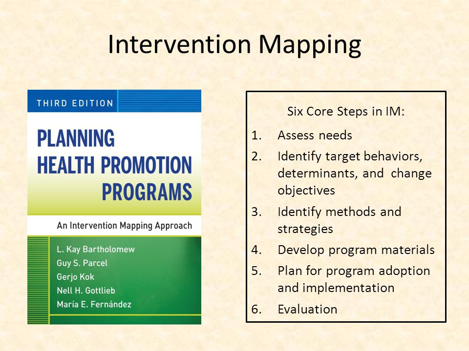 Intervention Mapping Six Core Steps in IM: Assess needs