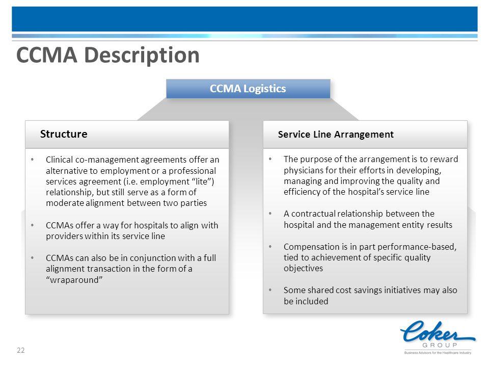 CCMA Description CCMA Logistics Structure Service Line Arrangement