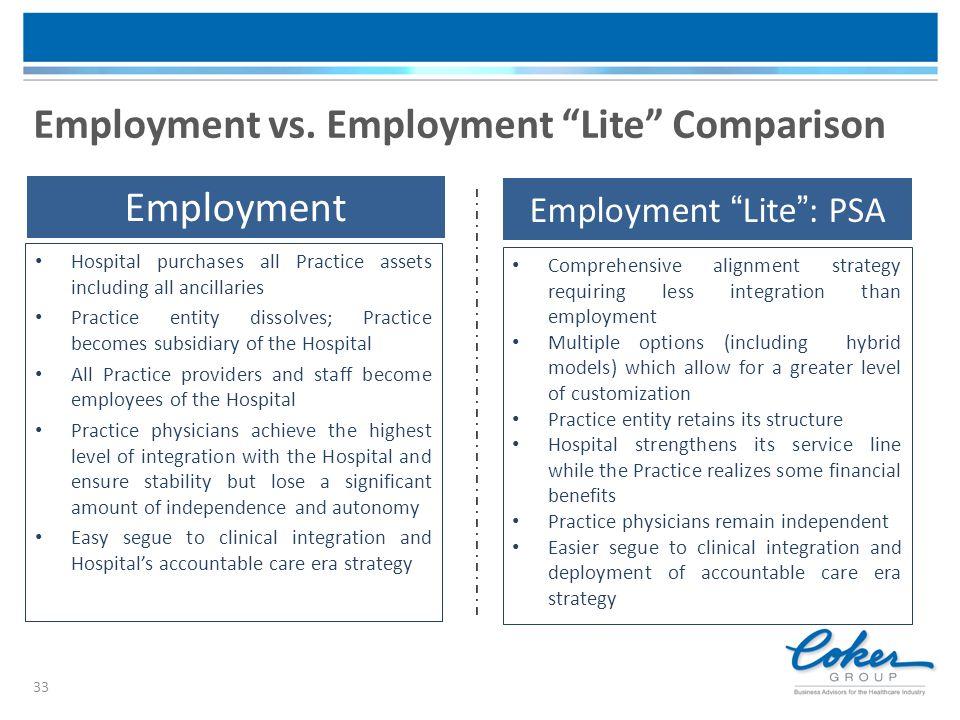 Employment vs. Employment Lite Comparison