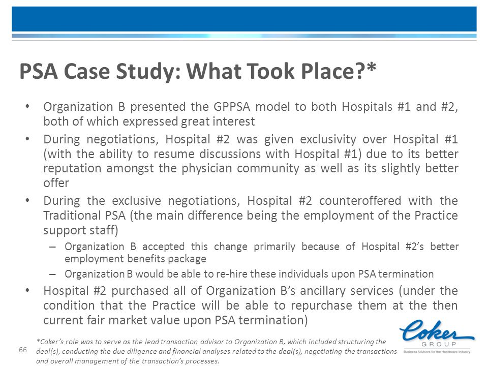 PSA Case Study: What Took Place *