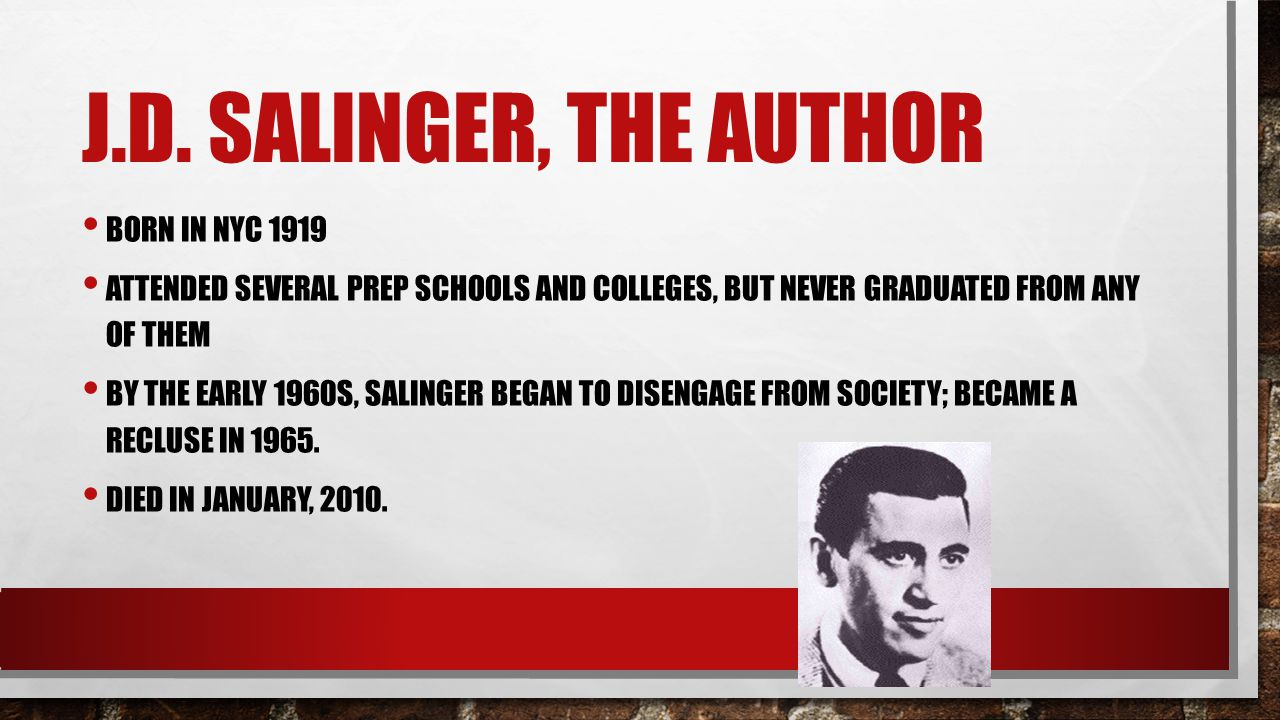 J.D. Salinger, the Author Born in NYC 1919