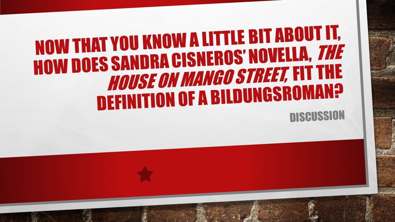 Now that you know a little bit about it, how does Sandra Cisneros' novella, The house on Mango Street, fit the definition of a Bildungsroman