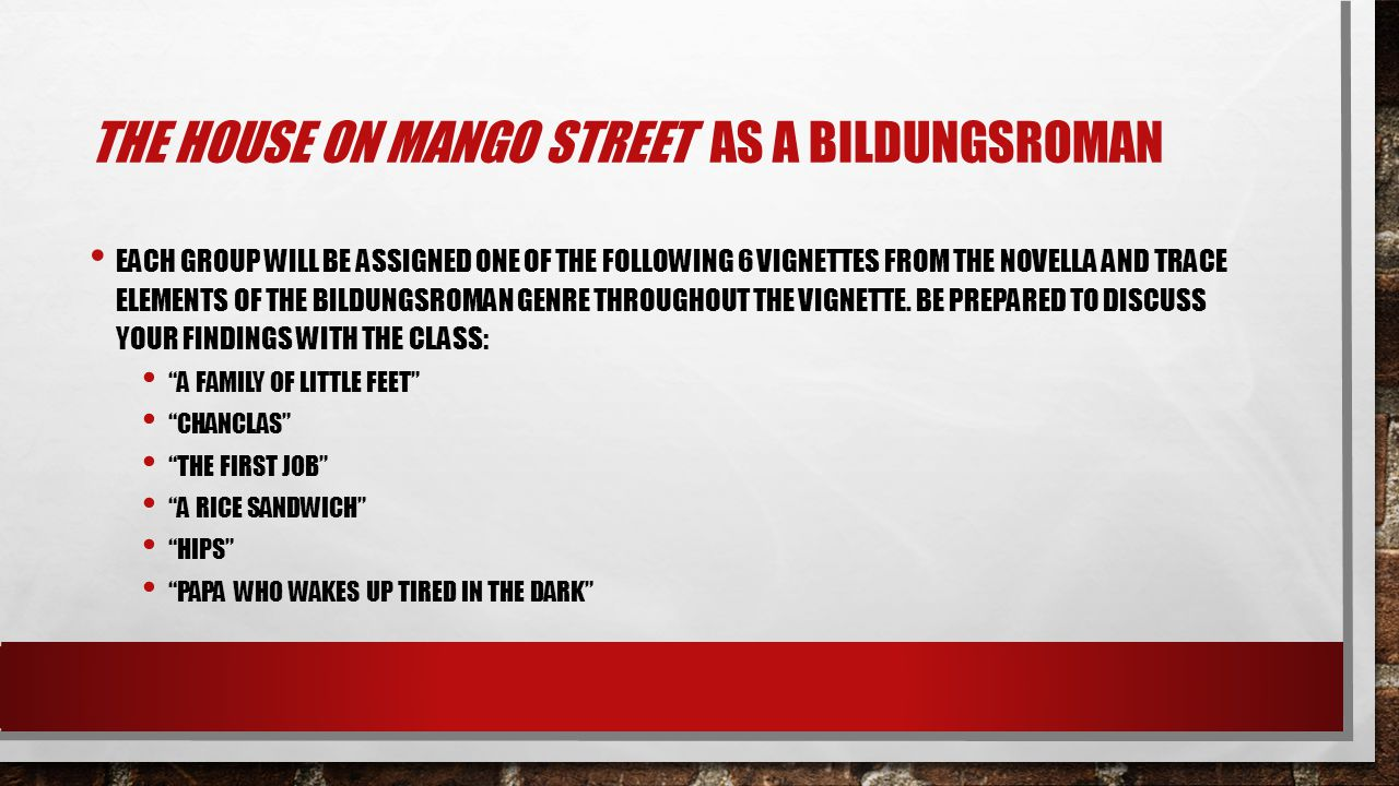 The house on Mango Street As a Bildungsroman