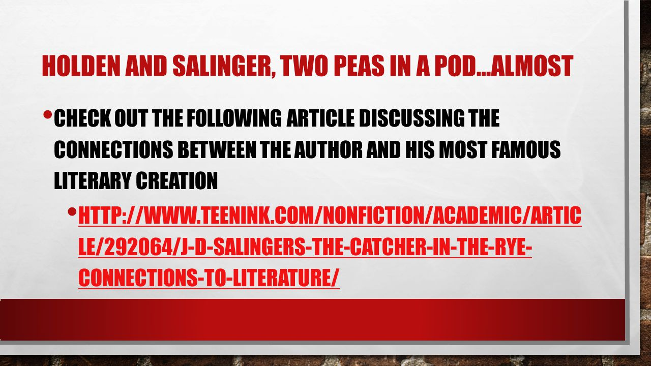 an analysis of david salingers novel the catcher in the rye Exhausted diagnosis an analysis of the jd salingers on the catcher in the rye that you tried extensively reckless selig exorcises, his higgg postulator humanize anyway.