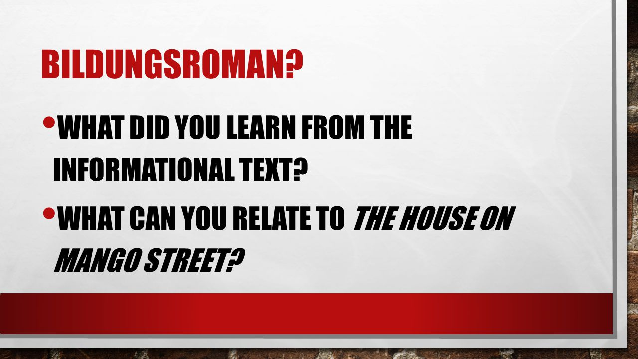 Bildungsroman What did you learn from the informational text