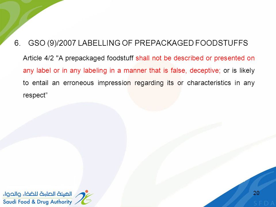 GSO (9)/2007 LABELLING OF PREPACKAGED FOODSTUFFS