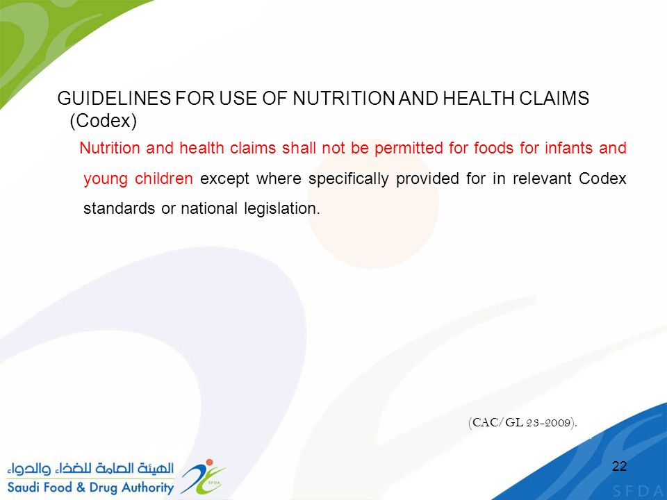 GUIDELINES FOR USE OF NUTRITION AND HEALTH CLAIMS (Codex)