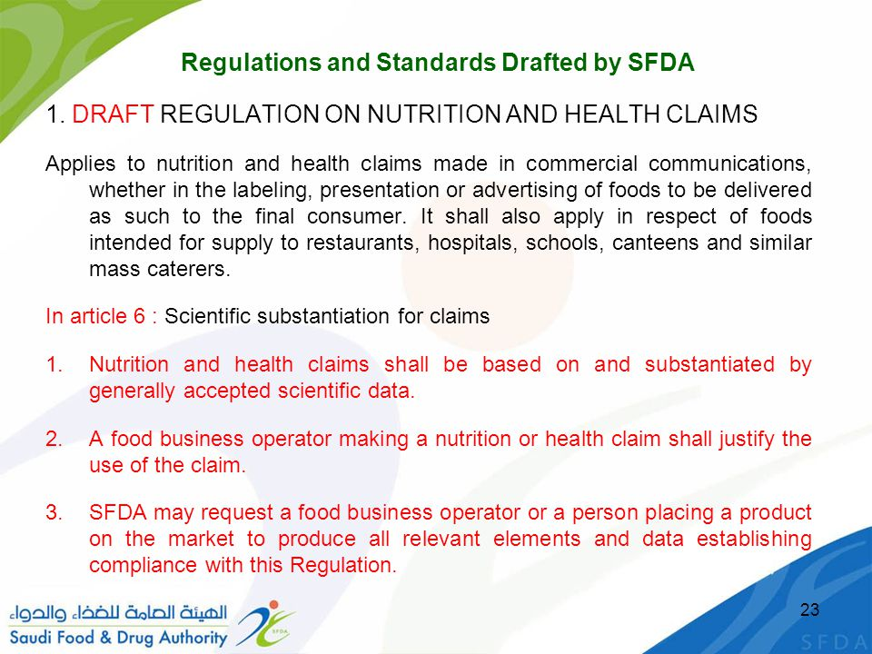 Regulations and Standards Drafted by SFDA