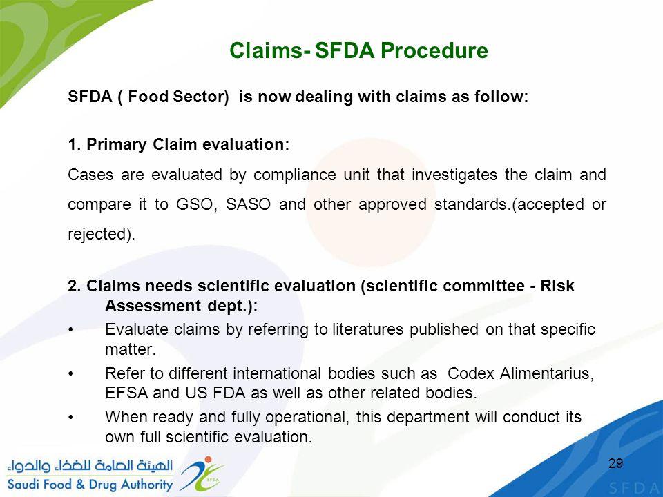 Claims- SFDA Procedure