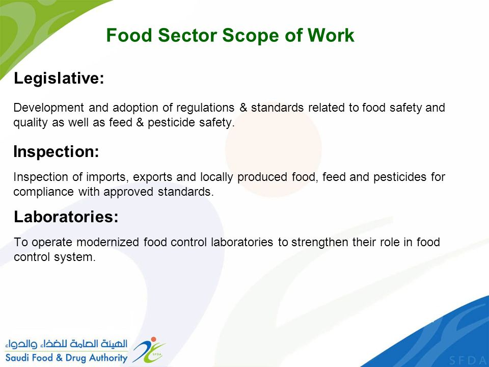 Food Sector Scope of Work
