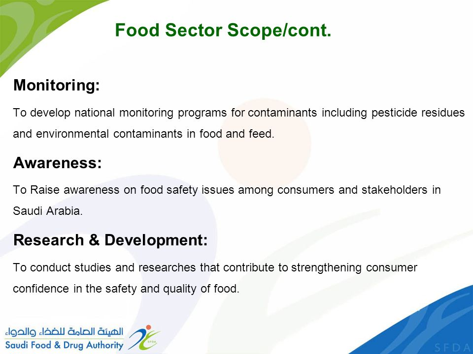 Food Sector Scope/cont.
