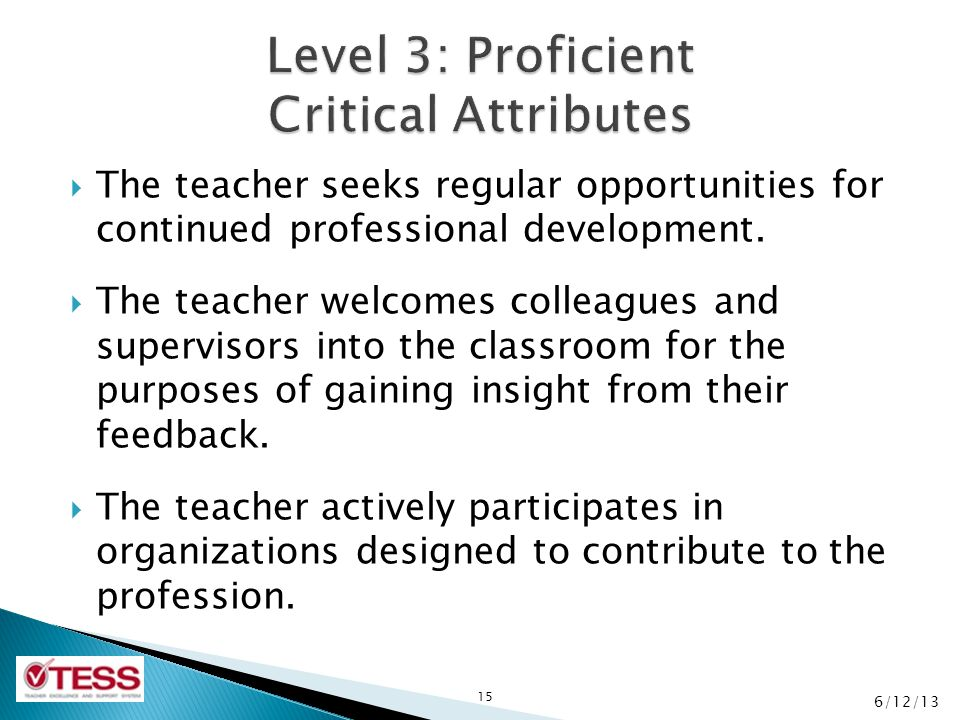 Level 3: Proficient Critical Attributes