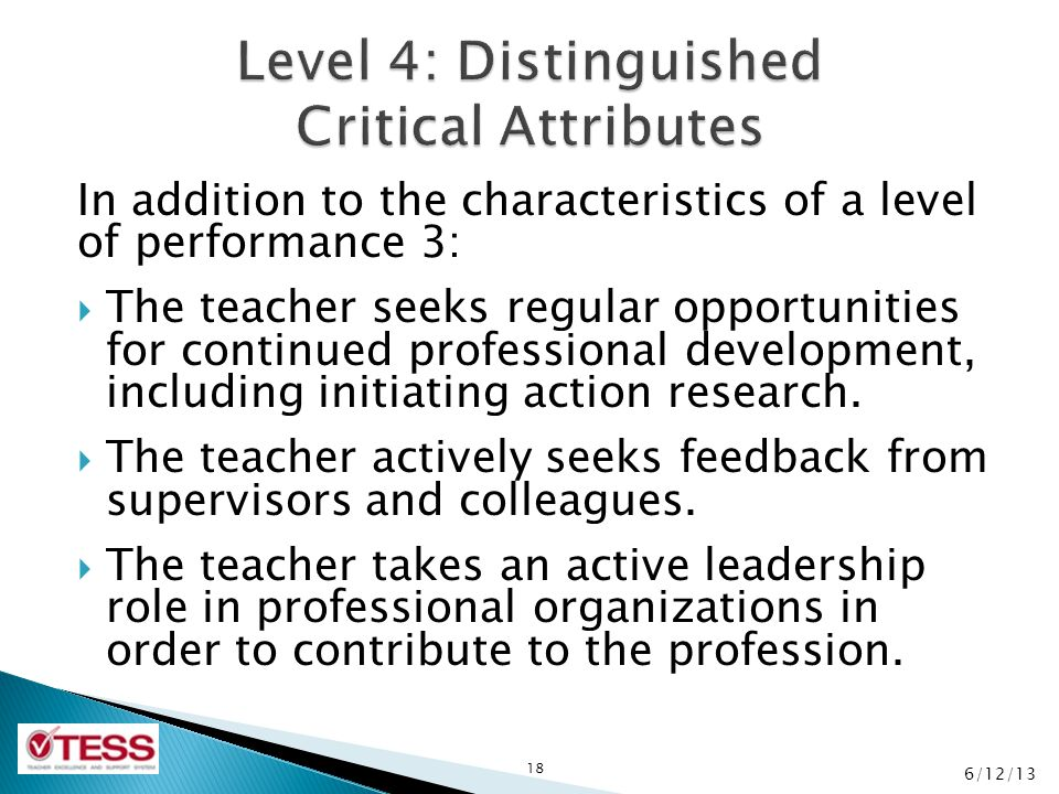 Level 4: Distinguished Critical Attributes