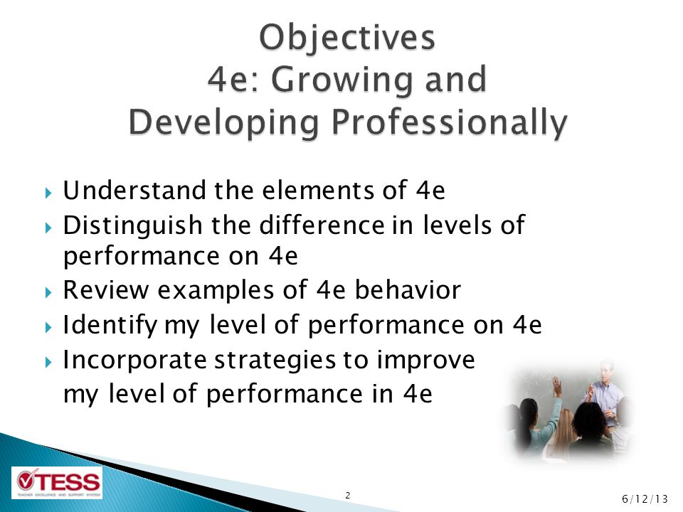 Objectives 4e: Growing and Developing Professionally