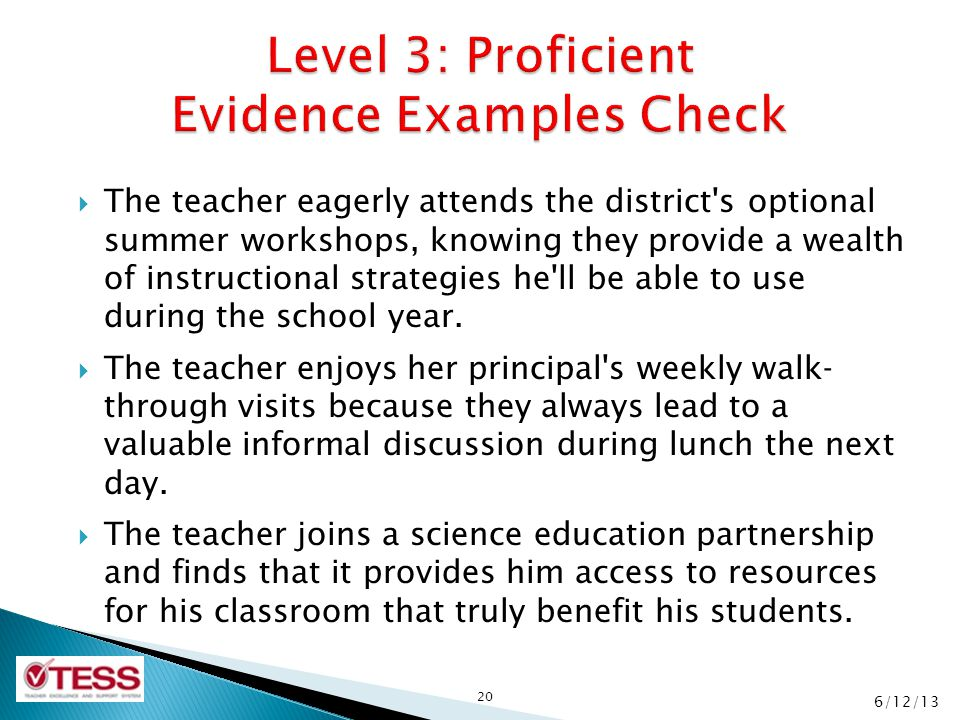Level 3: Proficient Evidence Examples Check