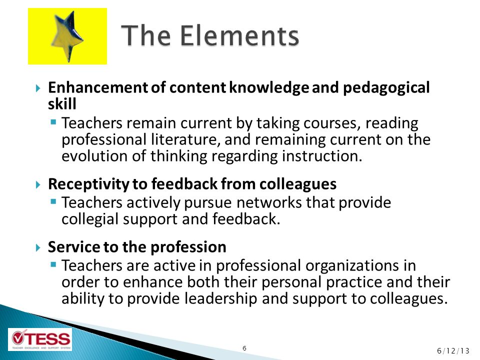 The Elements Enhancement of content knowledge and pedagogical skill