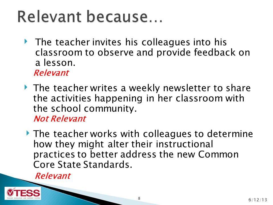 Relevant because… The teacher invites his colleagues into his classroom to observe and provide feedback on a lesson.