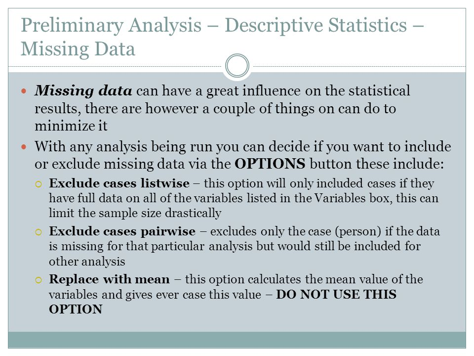 Preliminary Analysis – Descriptive Statistics – Missing Data