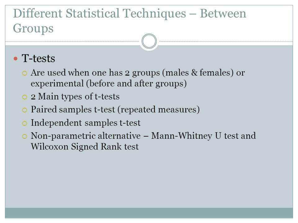 Different Statistical Techniques – Between Groups