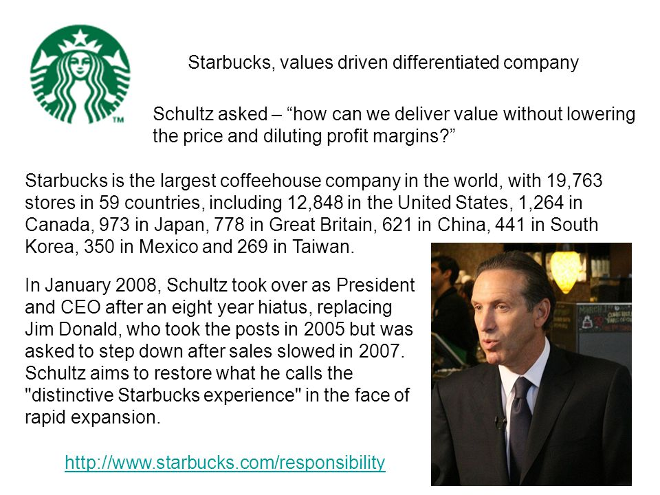 Starbucks, values driven differentiated company