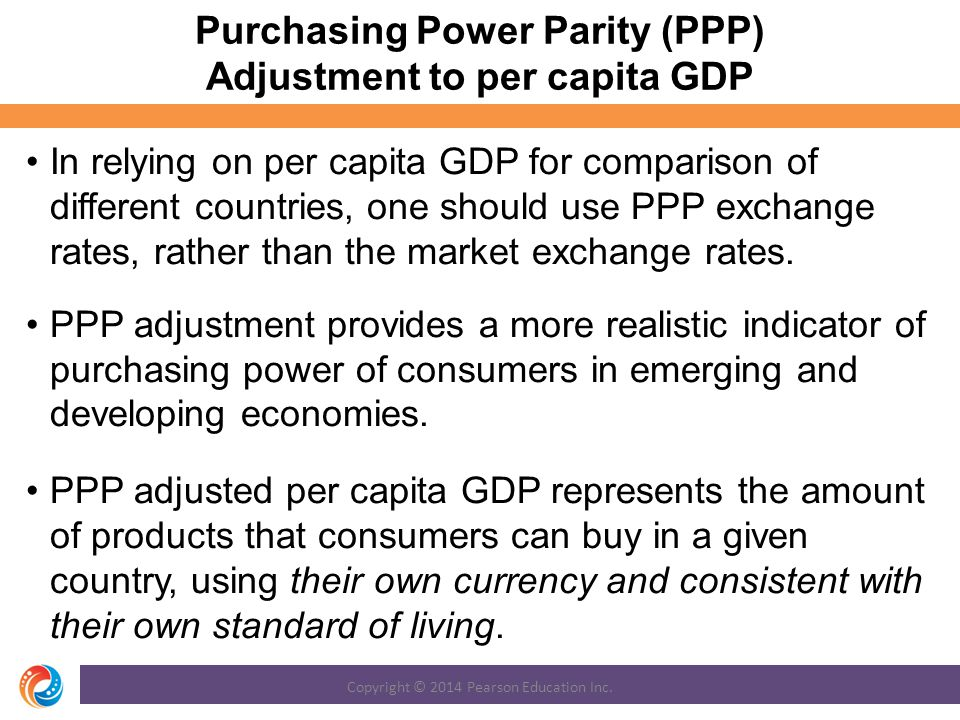 Purchasing Power Parity (PPP) Adjustment to per capita GDP