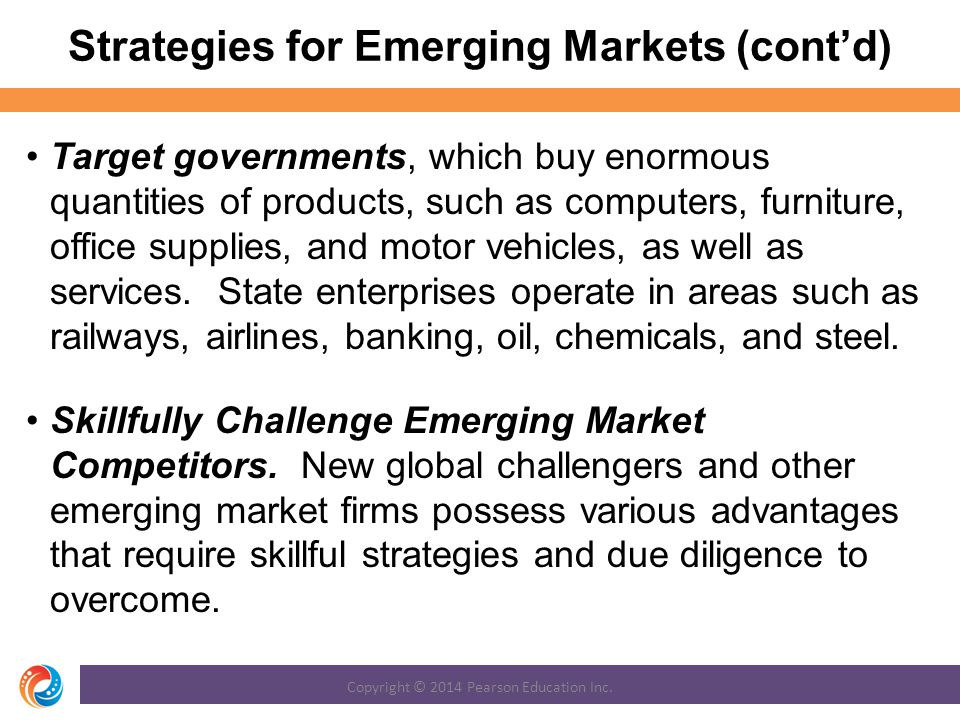 Strategies for Emerging Markets (cont'd)