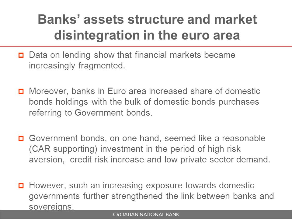 Banks' assets structure and market disintegration in the euro area