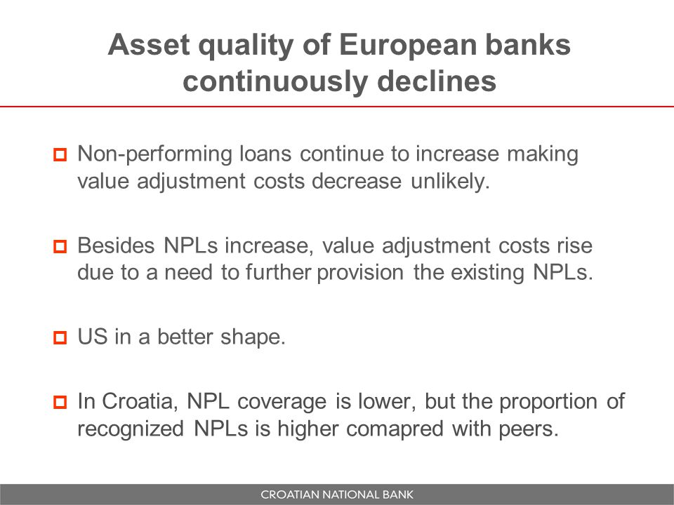 Asset quality of European banks continuously declines