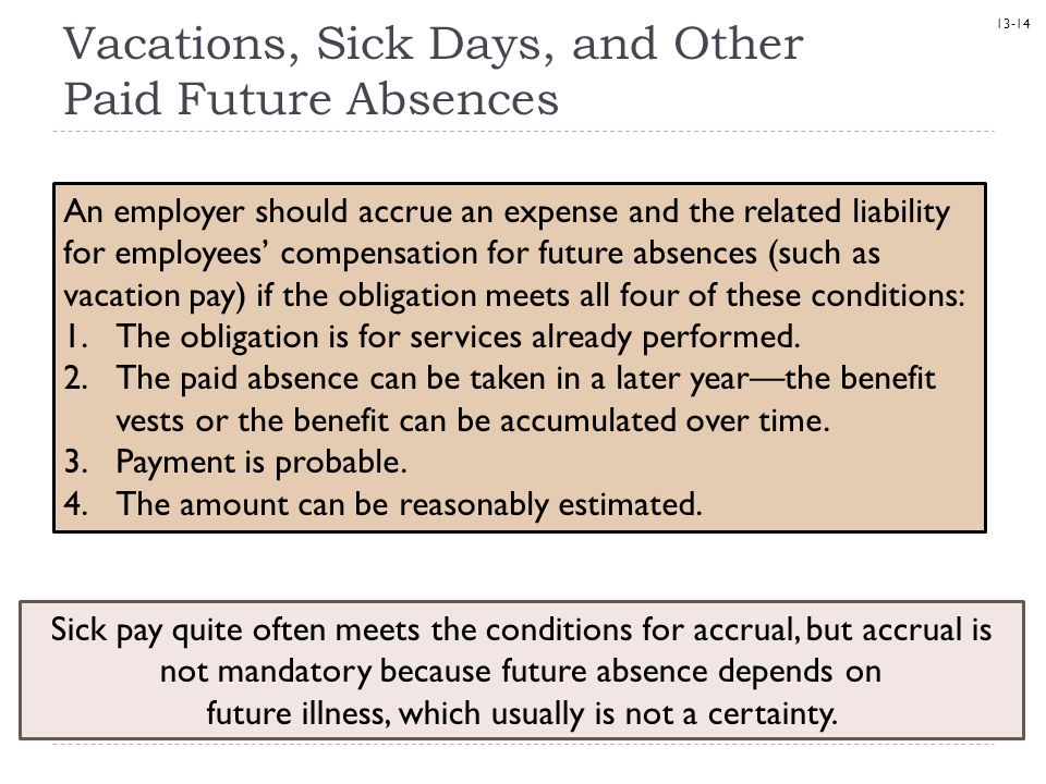 Vacations, Sick Days, and Other Paid Future Absences