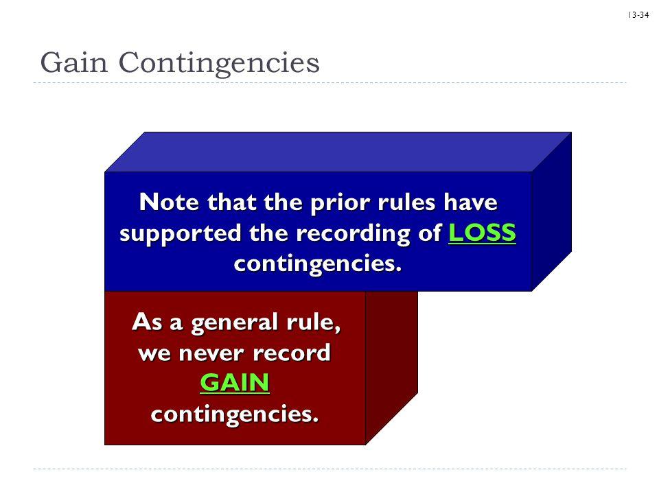 As a general rule, we never record GAIN contingencies.